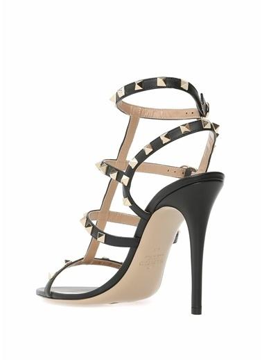 Valentino İnce Topuklu %100 Deri Sandalet Siyah